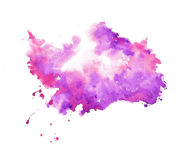 Hand painter purple watercolor stain texture background Free Vector