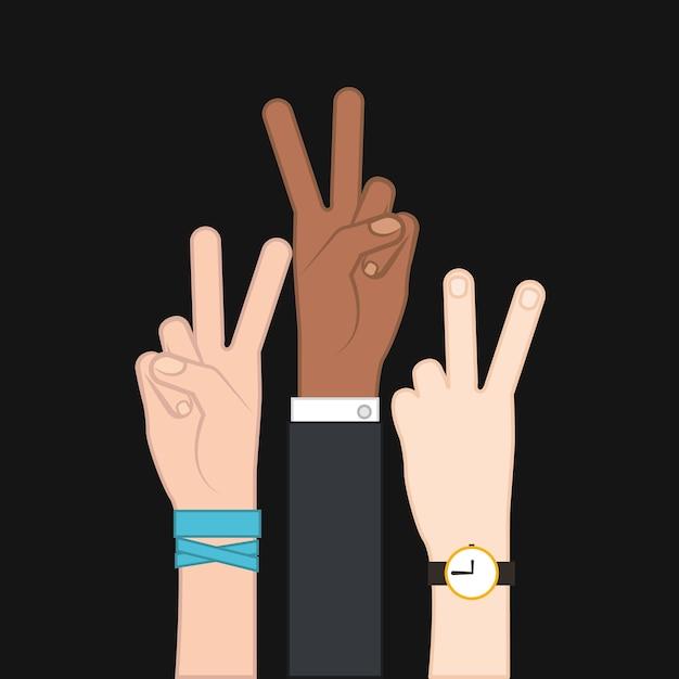 Hand peace and love symbol Premium Vector