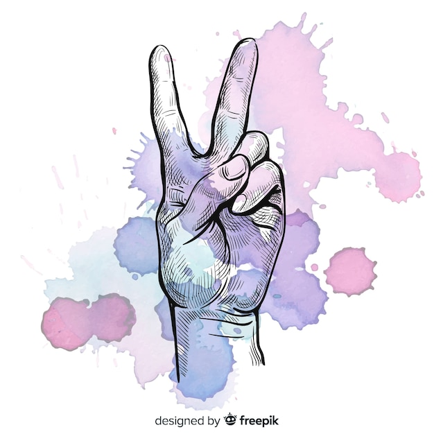 Hand peace sign  with spots background Free Vector