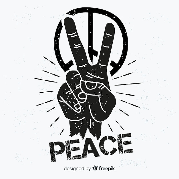 Hand peace symbol background Free Vector