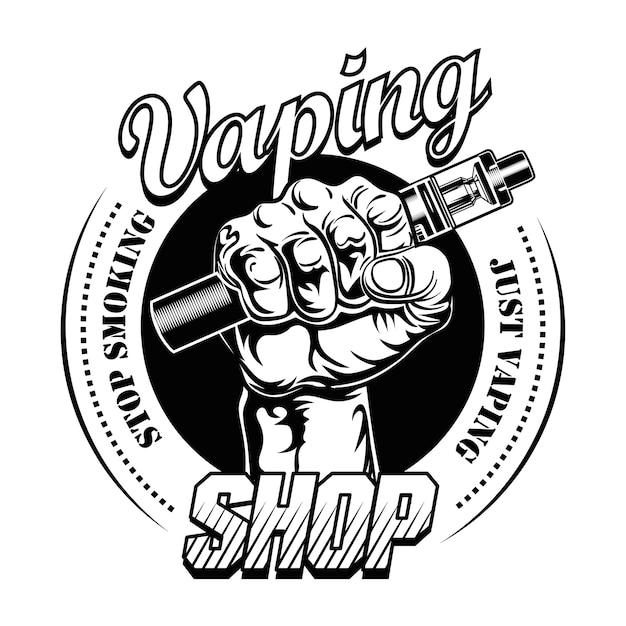 Illustrazione vettoriale di mano pf vaper. mano maschio che tiene sigaretta elettronica, smettere di fumare testo, timbro Vettore gratuito