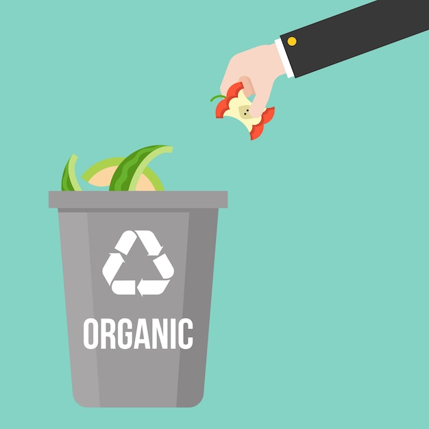 Hand pick organic waste to colorful recycle bin Premium Vector