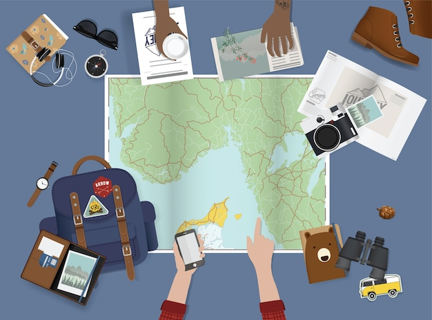Hand pointing on map planning for trip Free Vector