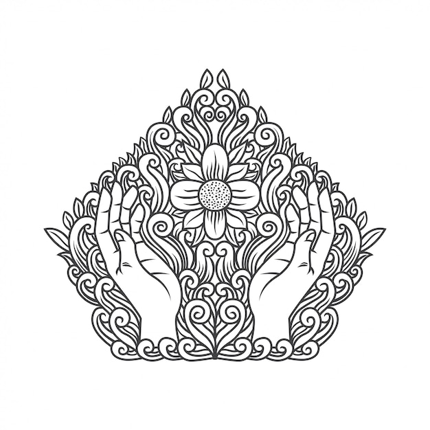 Hand praying with flower Premium Vector