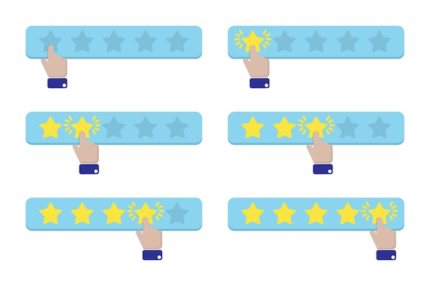 Hand press a star and gives a rating Premium Vector