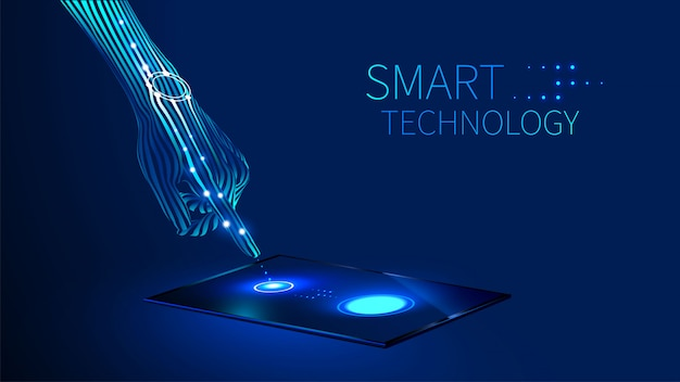 The hand presses the finger on the touch screen on the tablet or smart phone Premium Vector