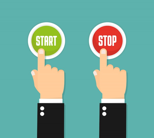 Hand pressing the red button. flat style . start and stop Premium Vector