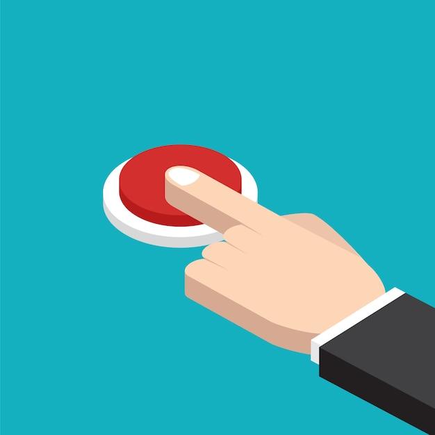 Hand pressing red button Premium Vector