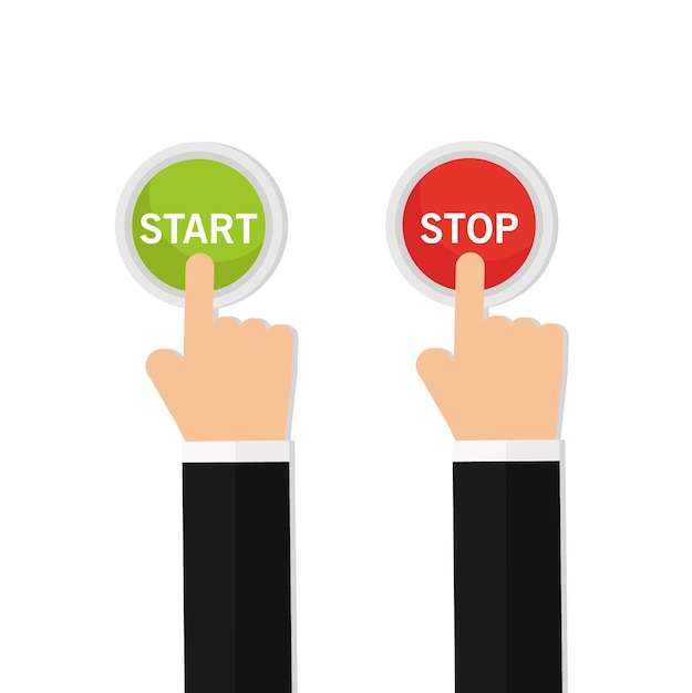 Hand pressing the red button Premium Vector