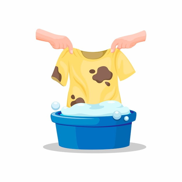 Hand put dirty tshirt on bucket full soap of deterent, washing clothes symbol in cartoon illustration   on white background Premium Vector