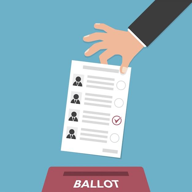 Hand puts vote bulletin into vote box Premium Vector