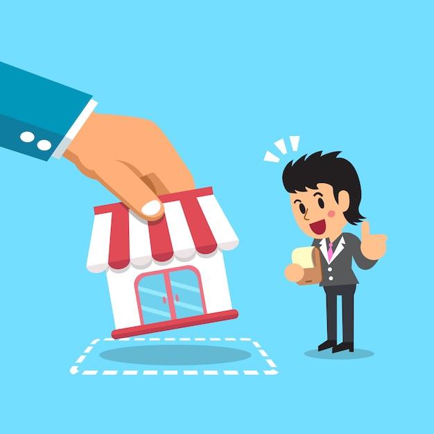 Hand putting business store to businesswoman illustration Premium Vector