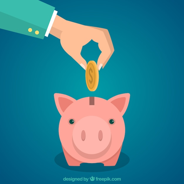 Hand putting coin into a piggybank Free Vector