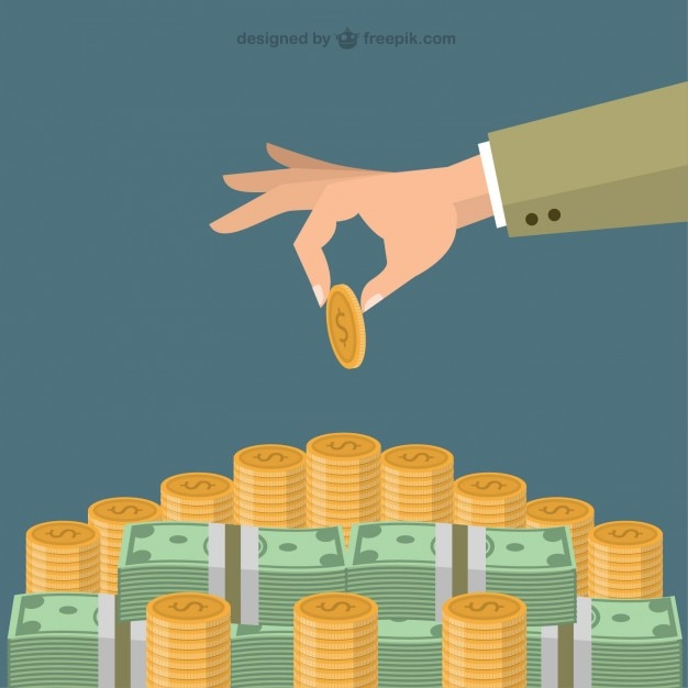 Hand putting coin on money staircase Free Vector