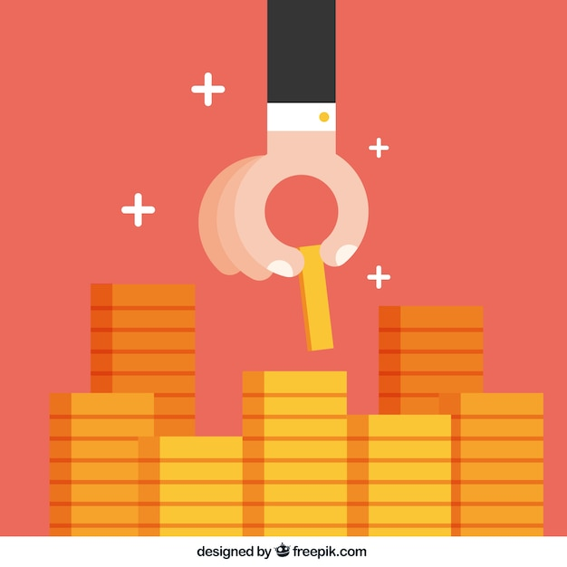 Hand putting coin on the stack of coins Free Vector