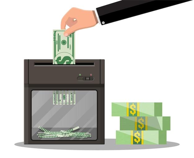 シュレッダーマシンにドル紙幣を手で入れます。破壊の終了はお金を削減します。お金を失うか、使いすぎ。 Premiumベクター