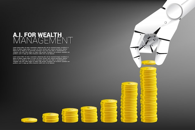Hand of robot with growth graph with stack of coin. Premium Vector