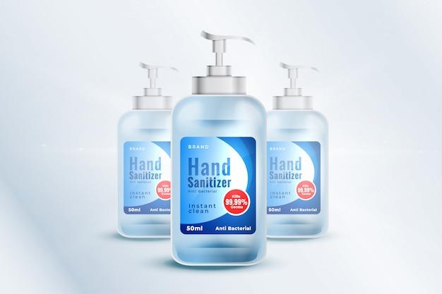 現実的なスタイルの手消毒剤ボトルコンテナーモックアップテンプレート 無料ベクター