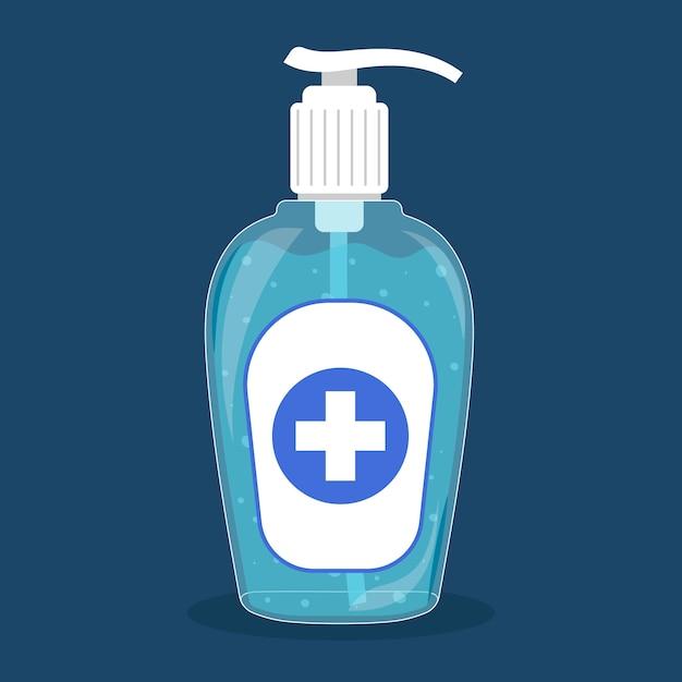 Hand sanitizer bottle washing gel flat design Free Vector