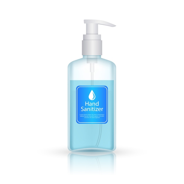 Hand sanitizer bottle with pump realistic style Free Vector