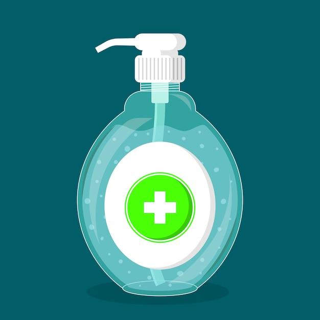 Бутылка дезинфицирующее средство для рук с насосом Бесплатные векторы