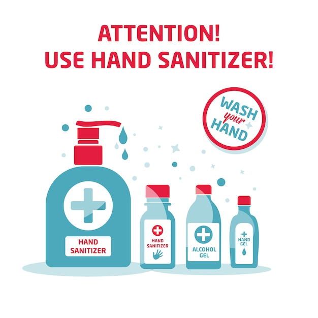 Hand sanitizer symbol set,alcohol bottle for hygiene, isolated on white, sign and icon template, medical illustration. Premium Vector