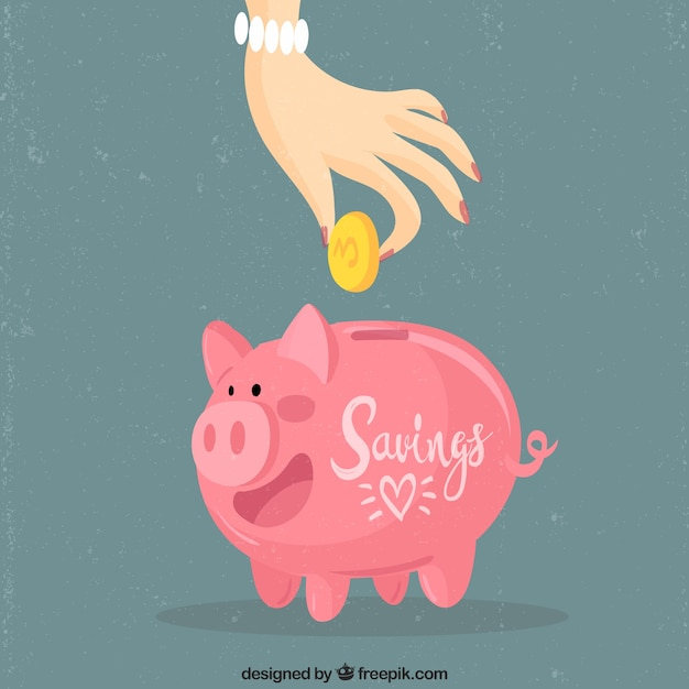 Hand saving coins in the piggybank with flat design Free Vector