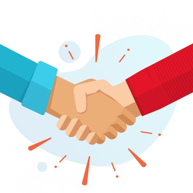 Hand shake hands partnership or friends welcome handshake vector flat cartoon illustration isolated Premium Vector
