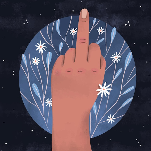 Рука показывает символ ебать тебя с цветами Бесплатные векторы