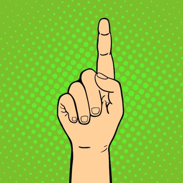 聴覚障害者のミュートジェスチャー人間の腕の親指を示す手コミュニケーションと方向設計拳タッチポップアートスタイルのカラフルなイラストを保持します。 Premiumベクター