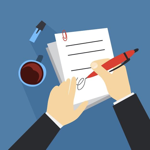 ペンを使用して手署名文書。紙の契約。 Premiumベクター