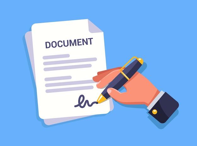 Рука подписывает важный документ. Premium векторы