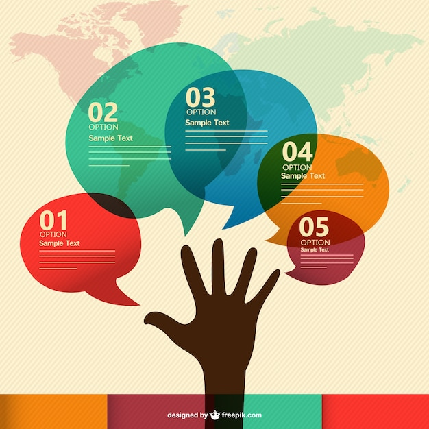 Hand silhouette and speech bubbles in different colors Free Vector