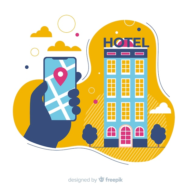 Hand silhouette hotel booking background Free Vector