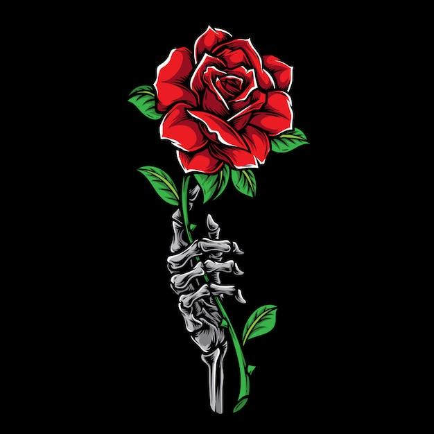Hand Skeleton Holding Rose Tattoo Illustration Vector