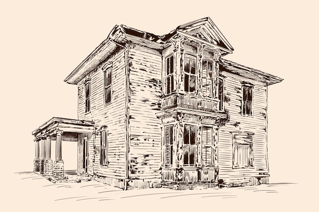 ベージュ色の手描きスケッチ。石造りの基礎の上に放棄された古い素朴な木造住宅。 Premiumベクター
