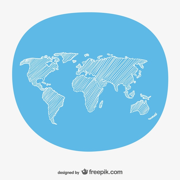hand sketch world map free vector