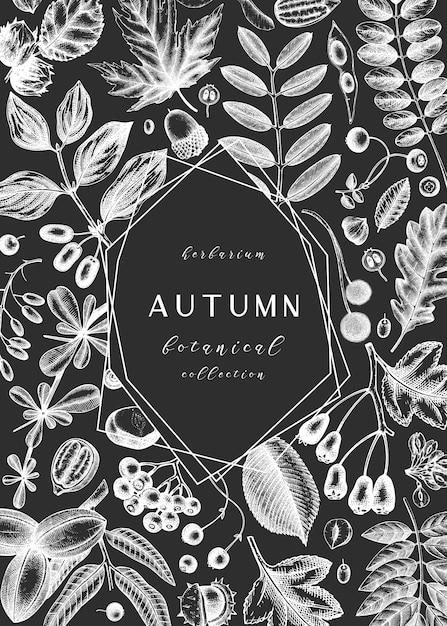 Рука нарисовала осенние листья на доске. элегантный ботанический шаблон с осенними листьями, ягодами, эскизами семян. идеально подходит для приглашения, открыток, листовок, меню, этикеток, упаковки. Premium векторы