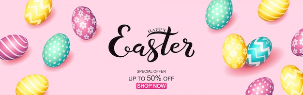 Hand sketched happy easter text Premium Vector