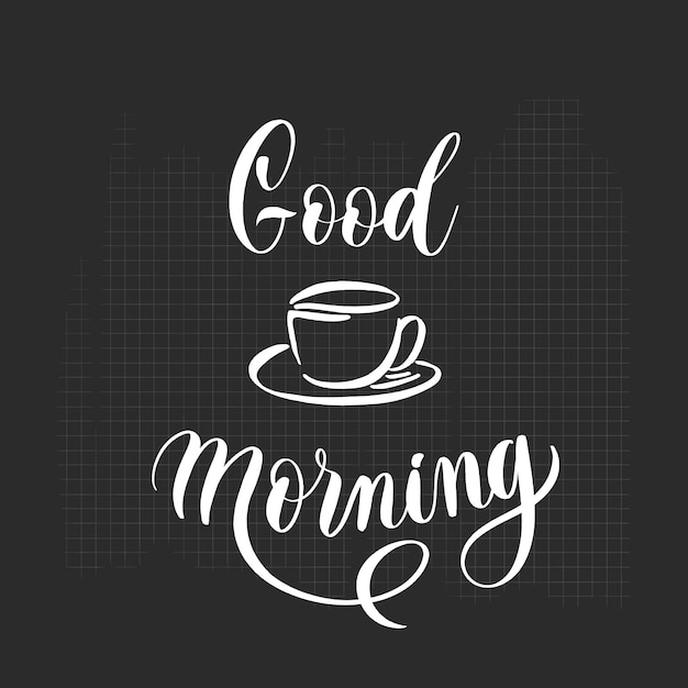 Hand sketched home good morning lettering poster. Premium Vector