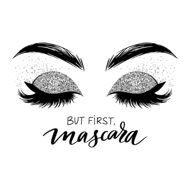 Hand sketched lashes quote. calligraphy phrase for beauty salon Premium Vector