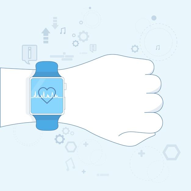 Hand smart watch heart pulse monitor icon vector illustration Premium Vector