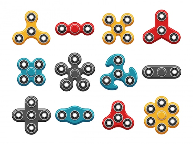 Hand spinner toys flat vector icons Premium Vector