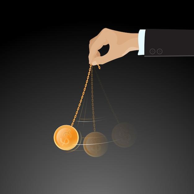 Hand swinging golden coin Premium Vector