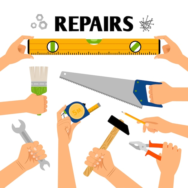 Hand tools in hands for remodeling construction isolated Premium Vector