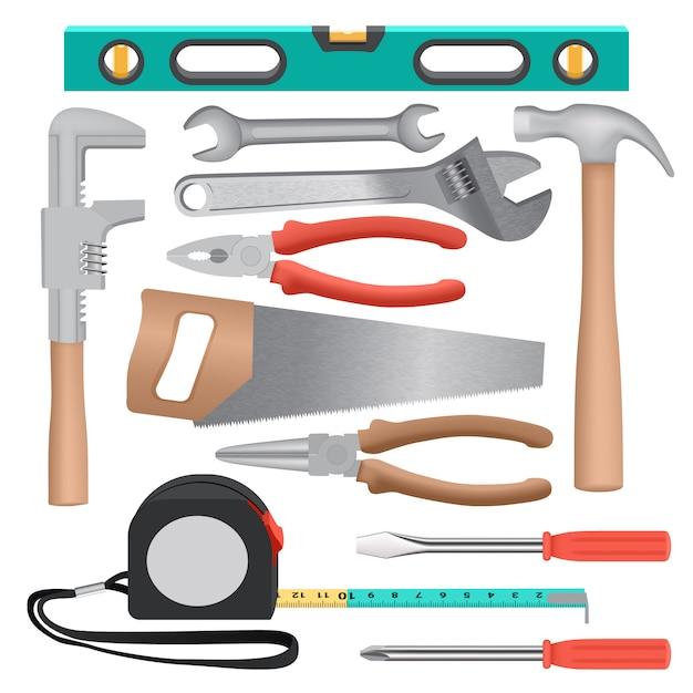 Hand tools mockup set. realistic illustration of 11 hand tools mockups for web Premium Vector