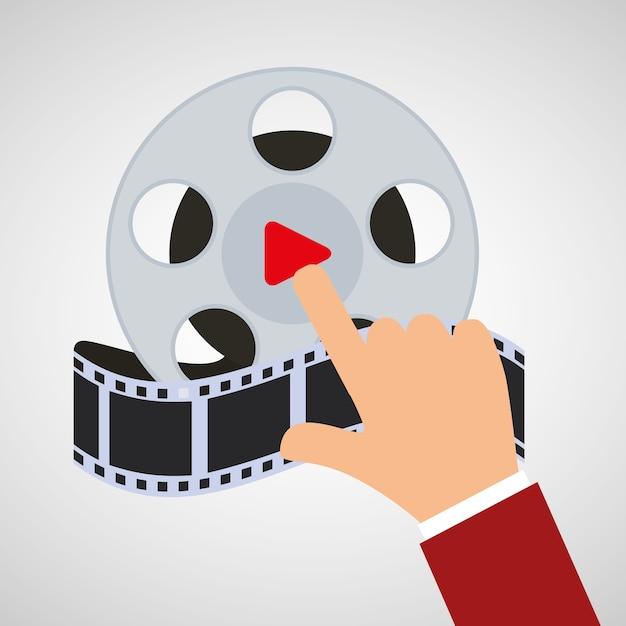Hand touch cinema reel film Premium Vector