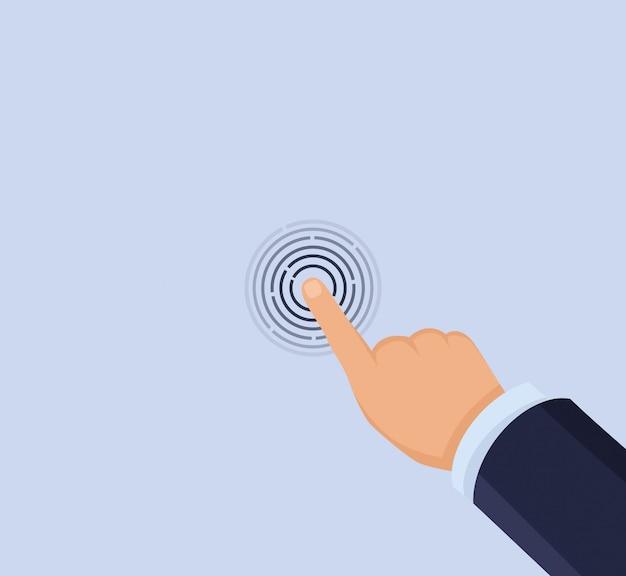 Hand touch screen Premium Vector