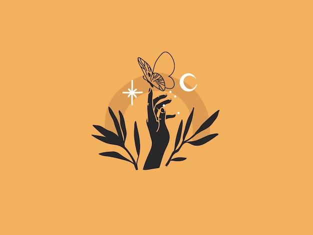 Рука трогательно бабочку ночью Premium векторы