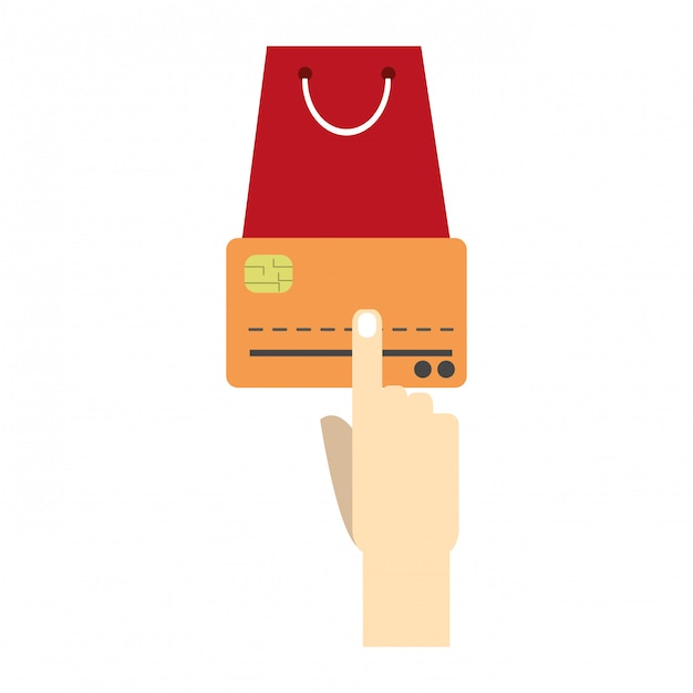 Hand touching credit card and shopping bag Premium Vector